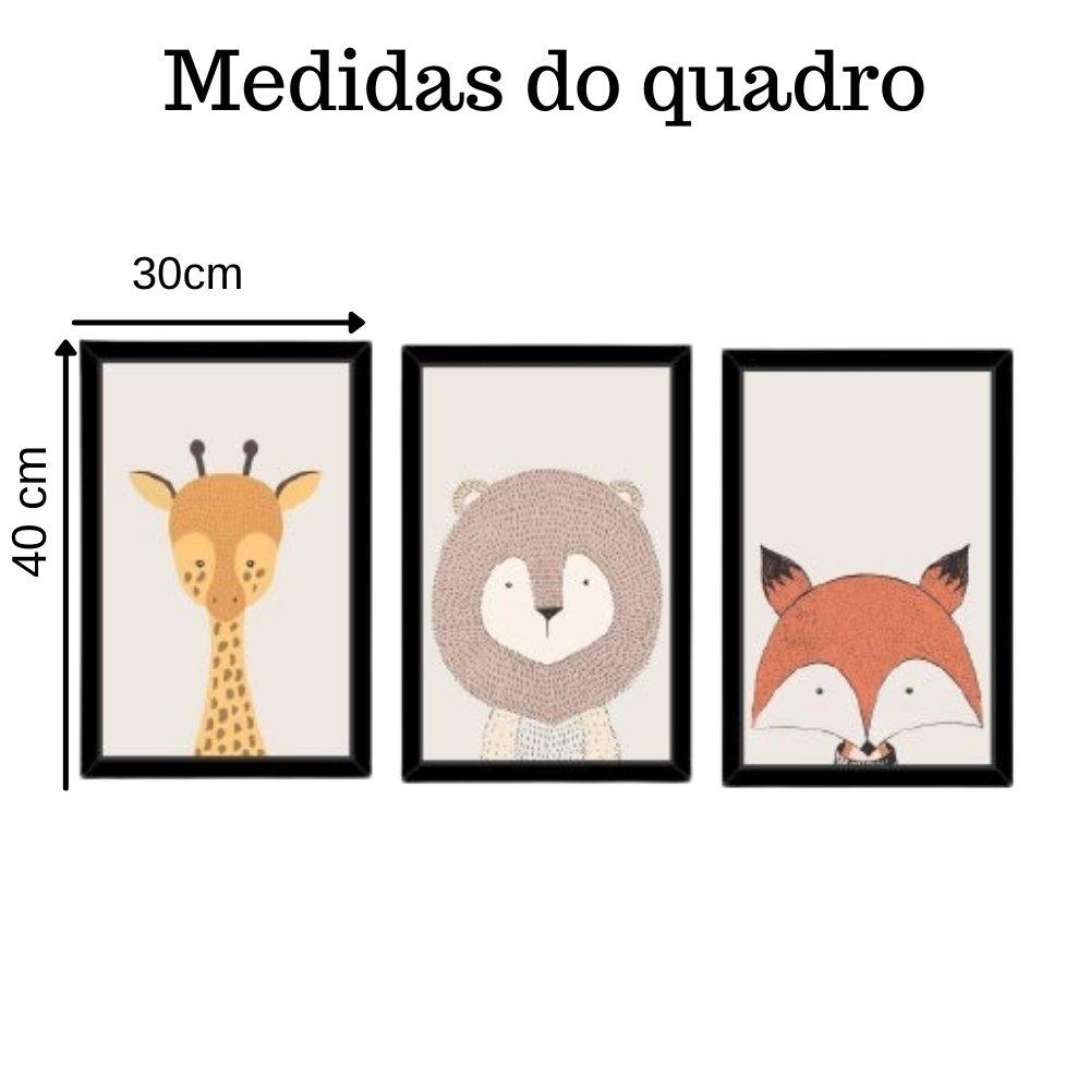 Quadro decorativo infantil safari animal sem acrílico 40x30  preto