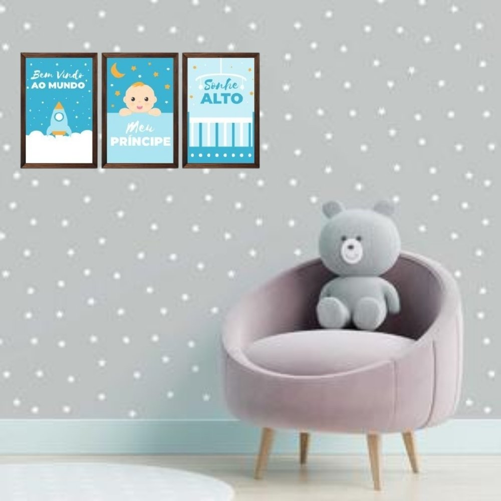 Quadro decorativo infantil sonhe alto meu menino com acrílico 40x30  marrom