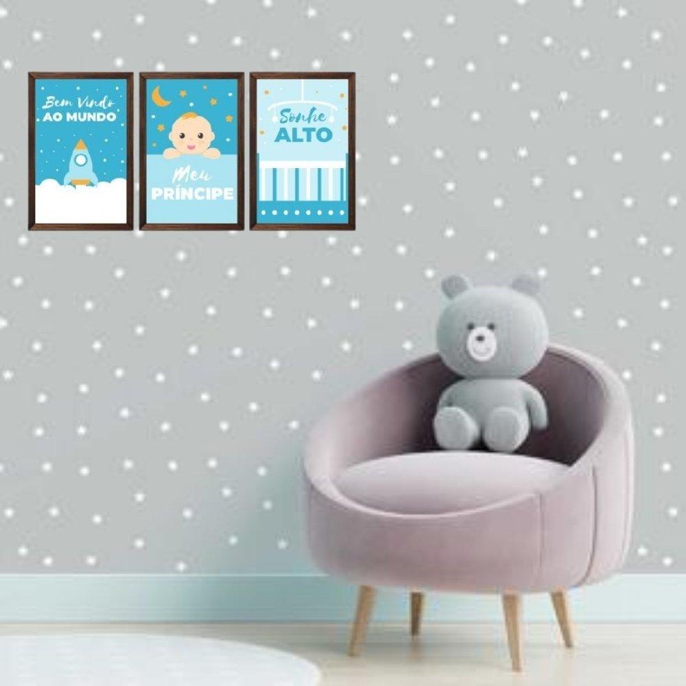 Quadro decorativo infantil sonhe alto meu menino sem acrílico 30x20  marrom