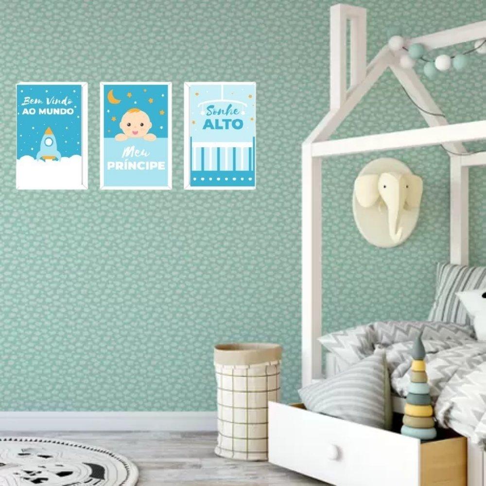 Quadro decorativo infantil sonhe alto meu menino sem acrílico 40x30  branco