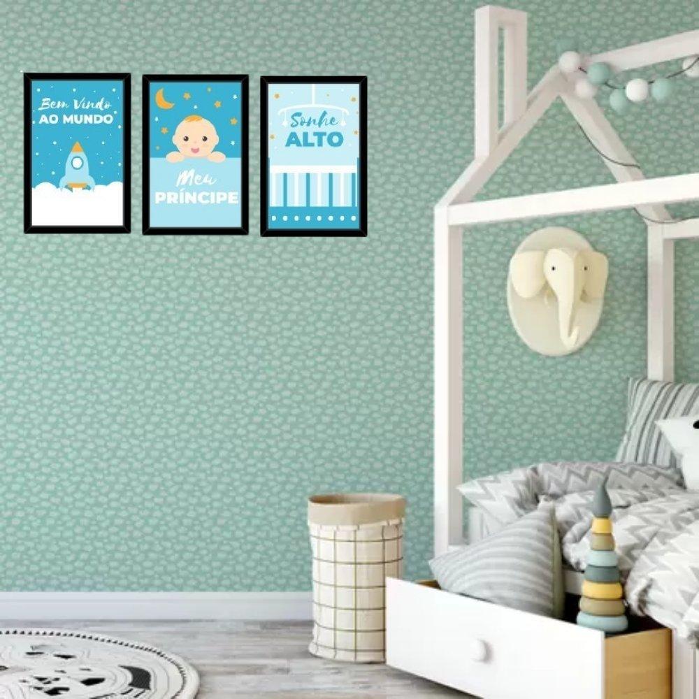 Quadro decorativo infantil sonhe alto meu menino sem acrílico 40x30  preto