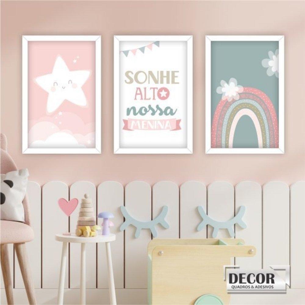 Quadro decorativo infantil sonhe alto nossa menina com acrílico 30x20  branco