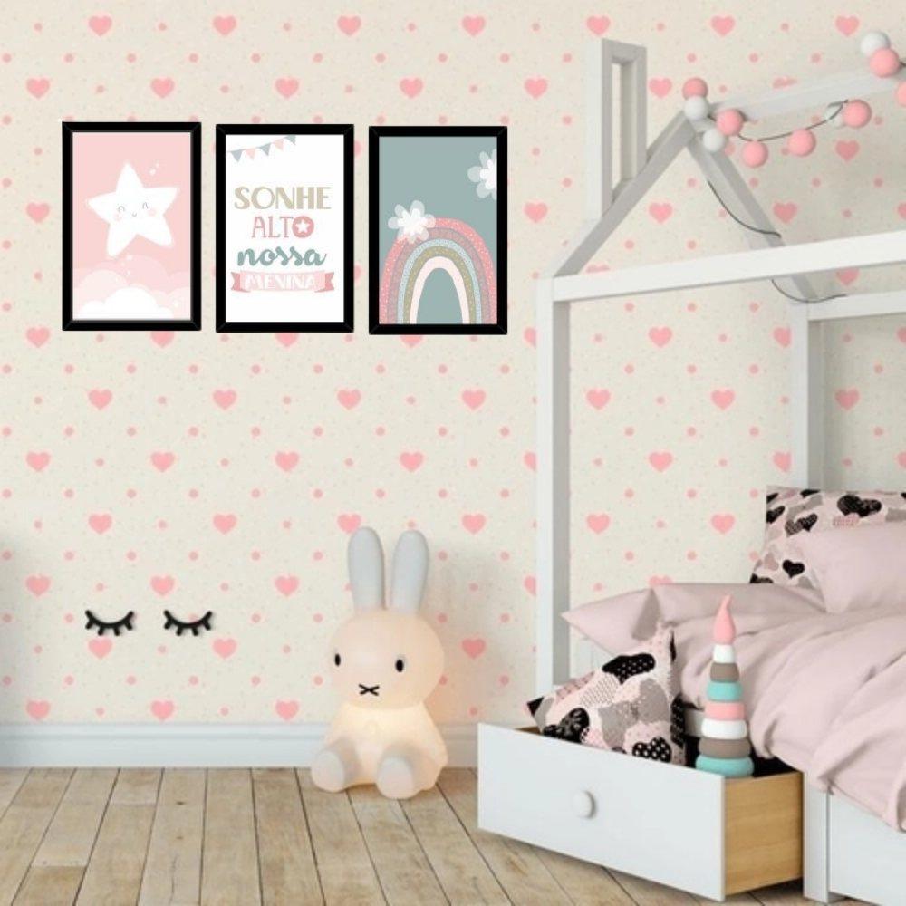Quadro decorativo infantil sonhe alto nossa menina com acrílico 40x30  preto