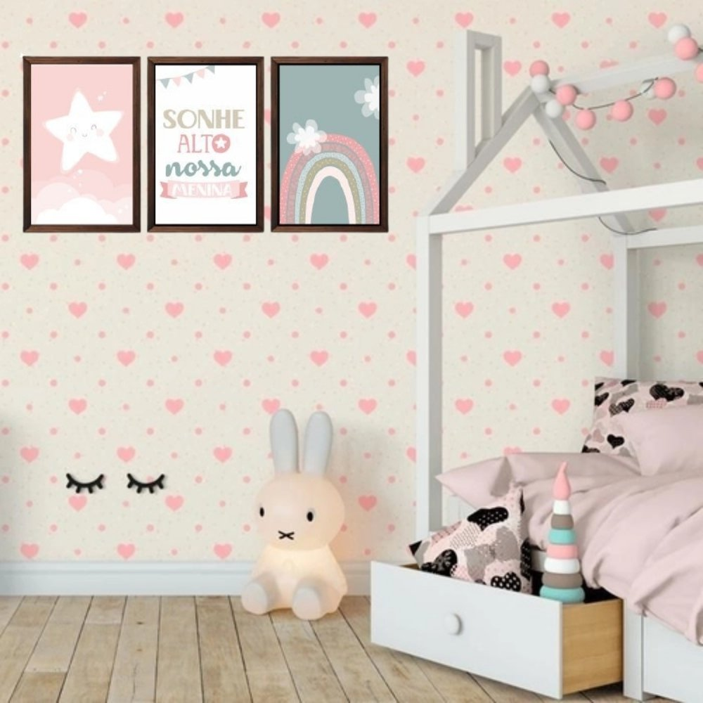 Quadro decorativo infantil sonhe alto nossa menina sem acrílico 40x30  marrom