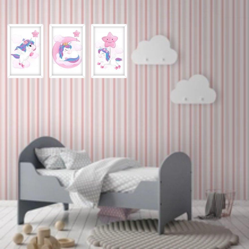Quadro decorativo infantil unicórnio menina  com acrílico 40x30  branco