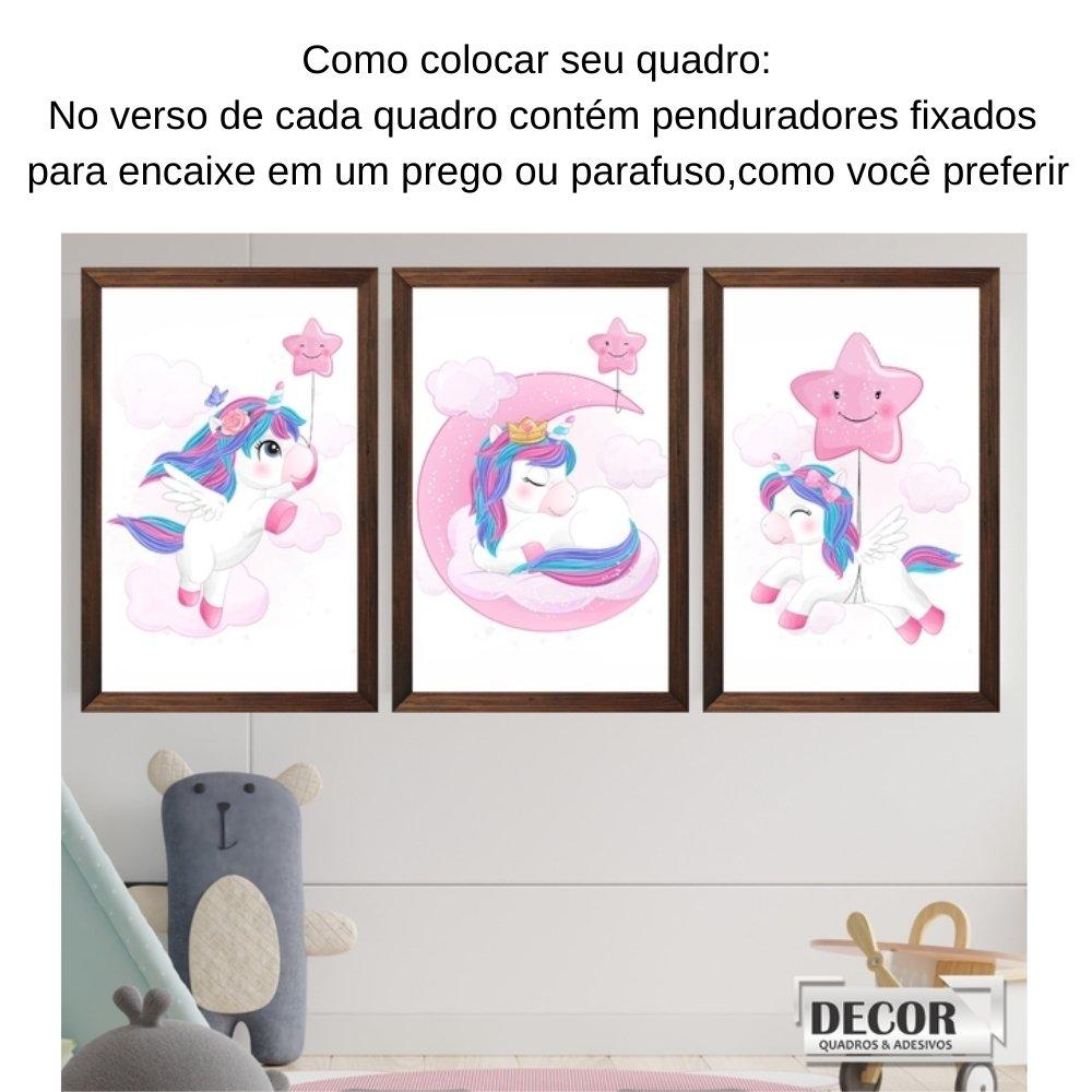 Quadro decorativo infantil unicórnio menina  com acrílico 40x30  marrom