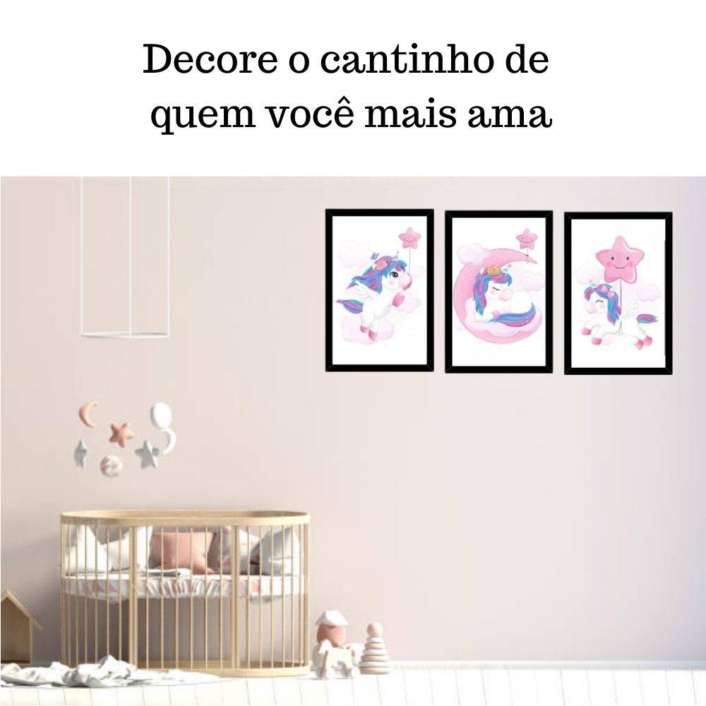 Quadro decorativo infantil unicórnio menina  com acrílico 40x30  preto
