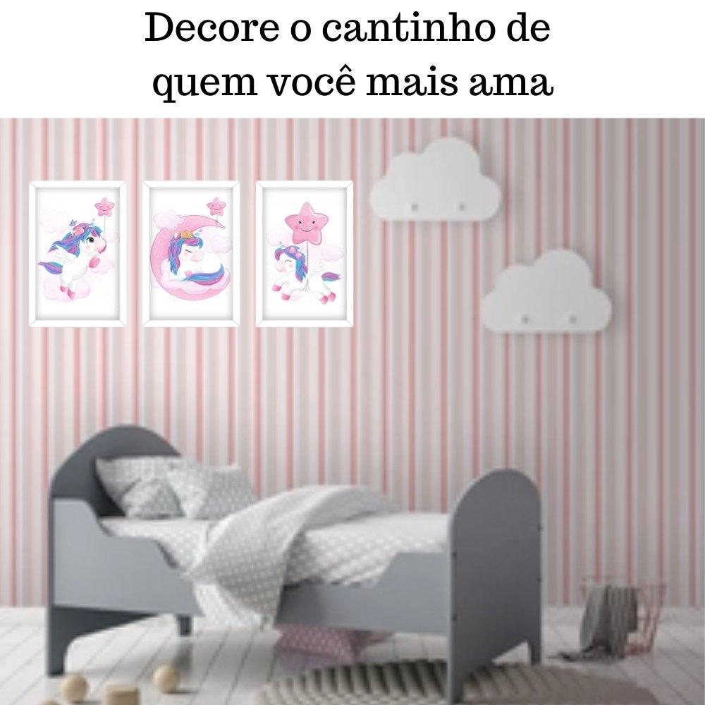 Quadro decorativo infantil unicórnio menina  sem acrílico 30x20  branco