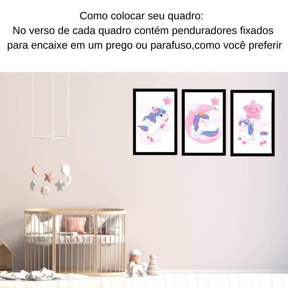 Quadro decorativo infantil unicórnio menina  sem acrílico 30x20  preto