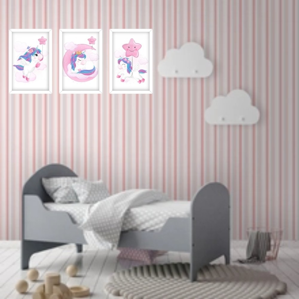 Quadro decorativo infantil unicórnio menina  sem acrílico 40x30  branco