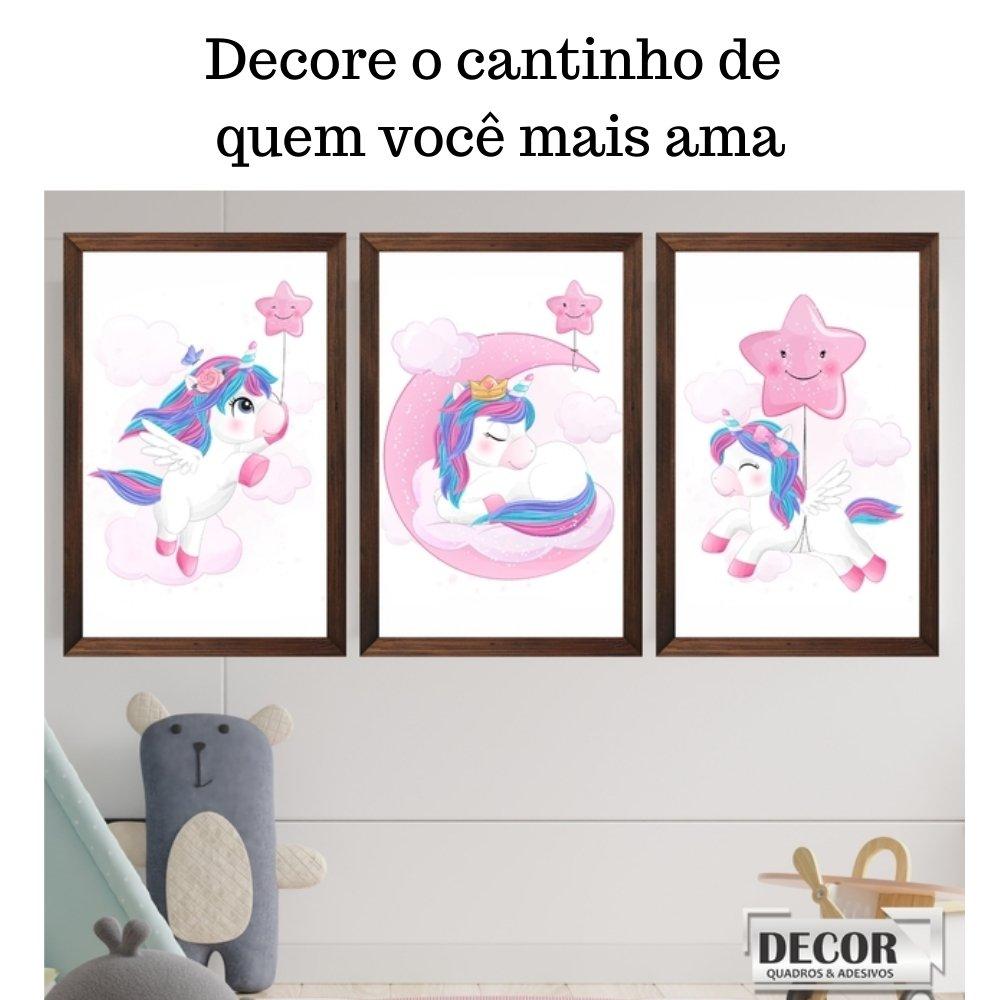 Quadro decorativo infantil unicórnio menina  sem acrílico 40x30  marrom