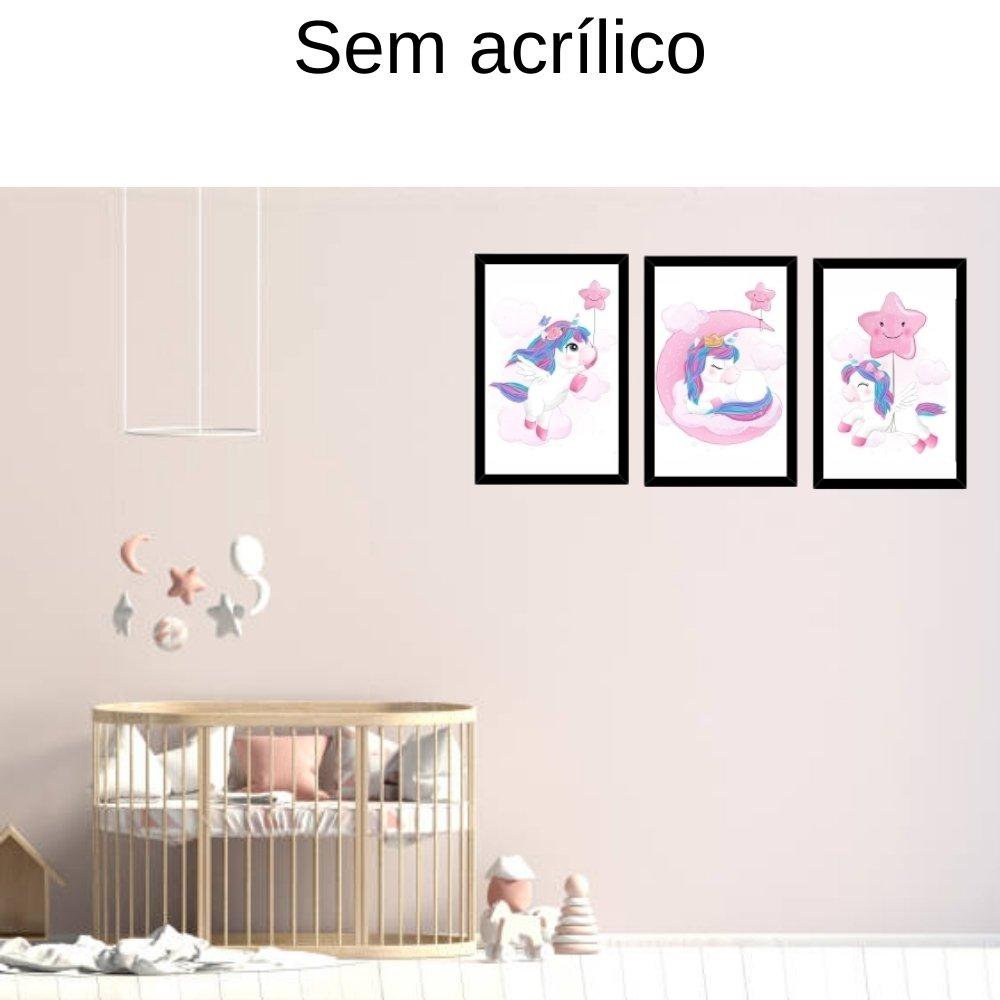 Quadro decorativo infantil unicórnio menina  sem acrílico 40x30  preto