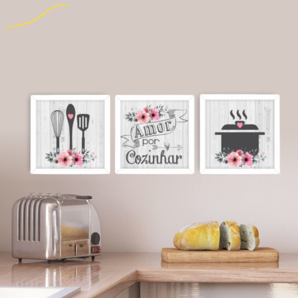 Quadro Decorativo para Cozinha Moldura Branca Cook Amor