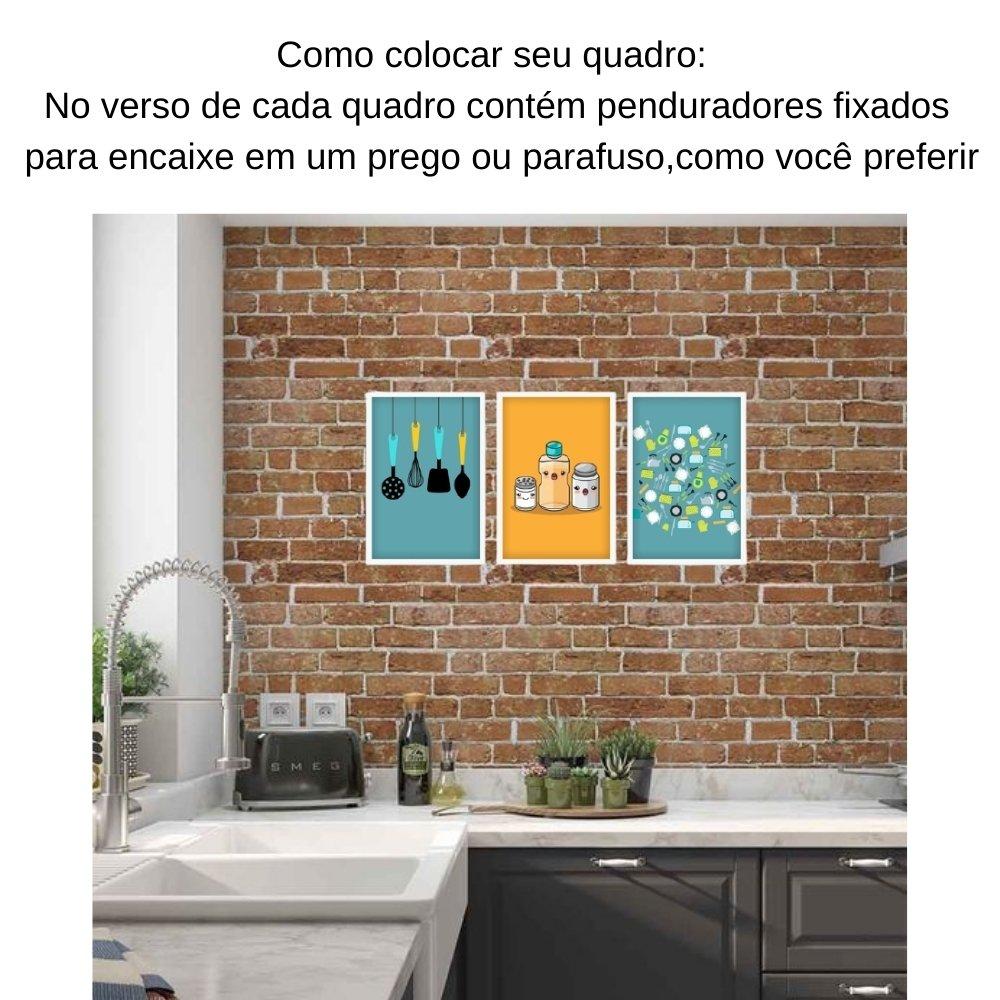 Quadro decorativo para decoração de cozinha e diversos ambientes branco com acrílico 30x20