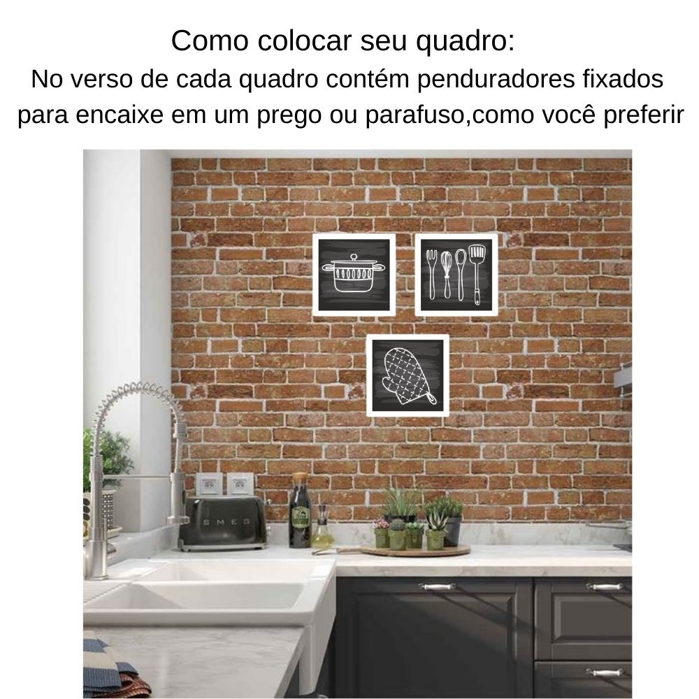Quadro decorativo para decoração de cozinha e diversos ambientes branco sem acrílico 20x20