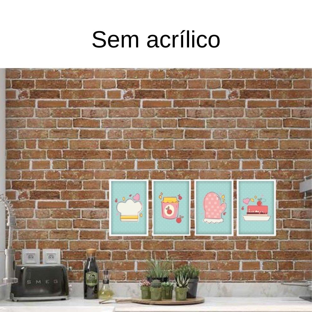 Quadro decorativo para decoração de cozinha e diversos ambientes branco sem acrílico 30x20