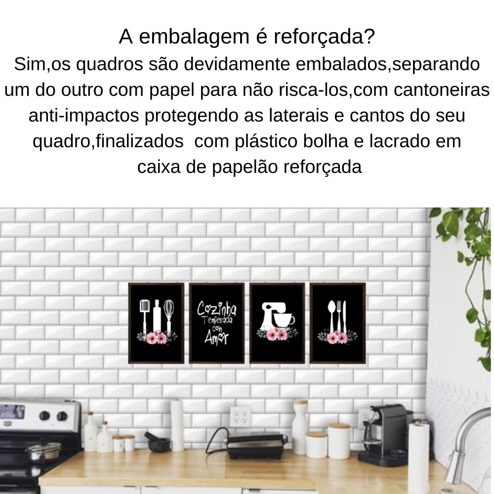 Quadro decorativo para decoração de cozinha e diversos ambientes marrom com acrílico 30x20