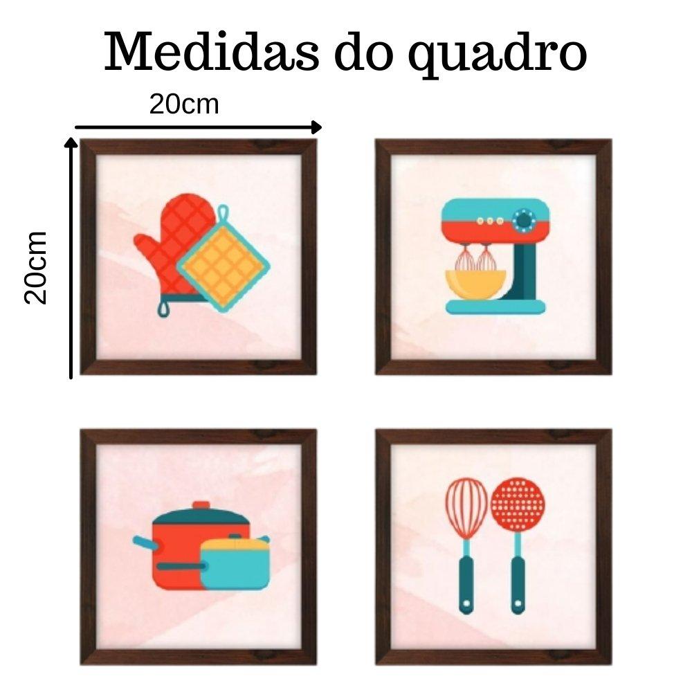 Quadro decorativo para decoração de cozinha e diversos ambientes marrom sem acrílico 20x20