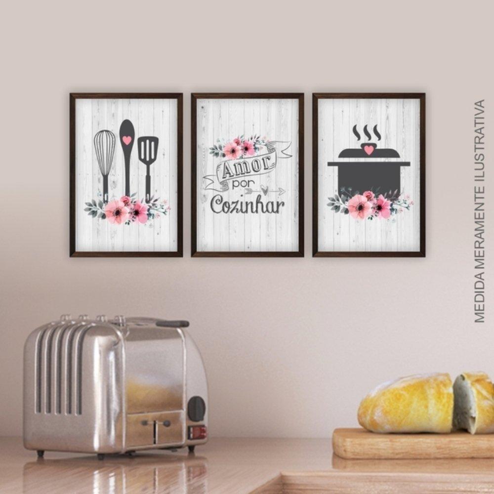 Quadro decorativo para decoração de cozinha e diversos ambientes marrom sem acrílico 30x20