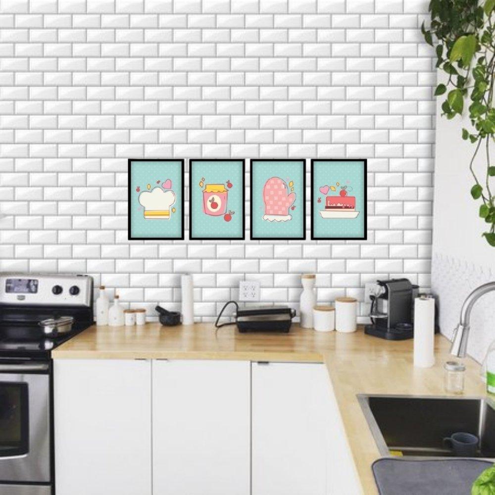 Quadro decorativo para decoração de cozinha e diversos ambientes preto com acrílico 30x20