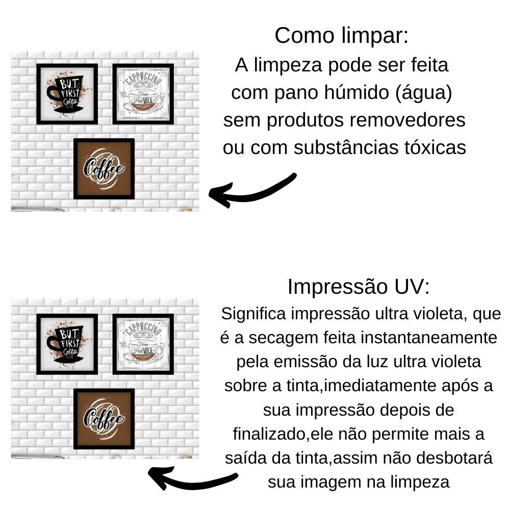 Quadro decorativo para decoração de cozinha e diversos ambientes preto sem acrílico 20x20