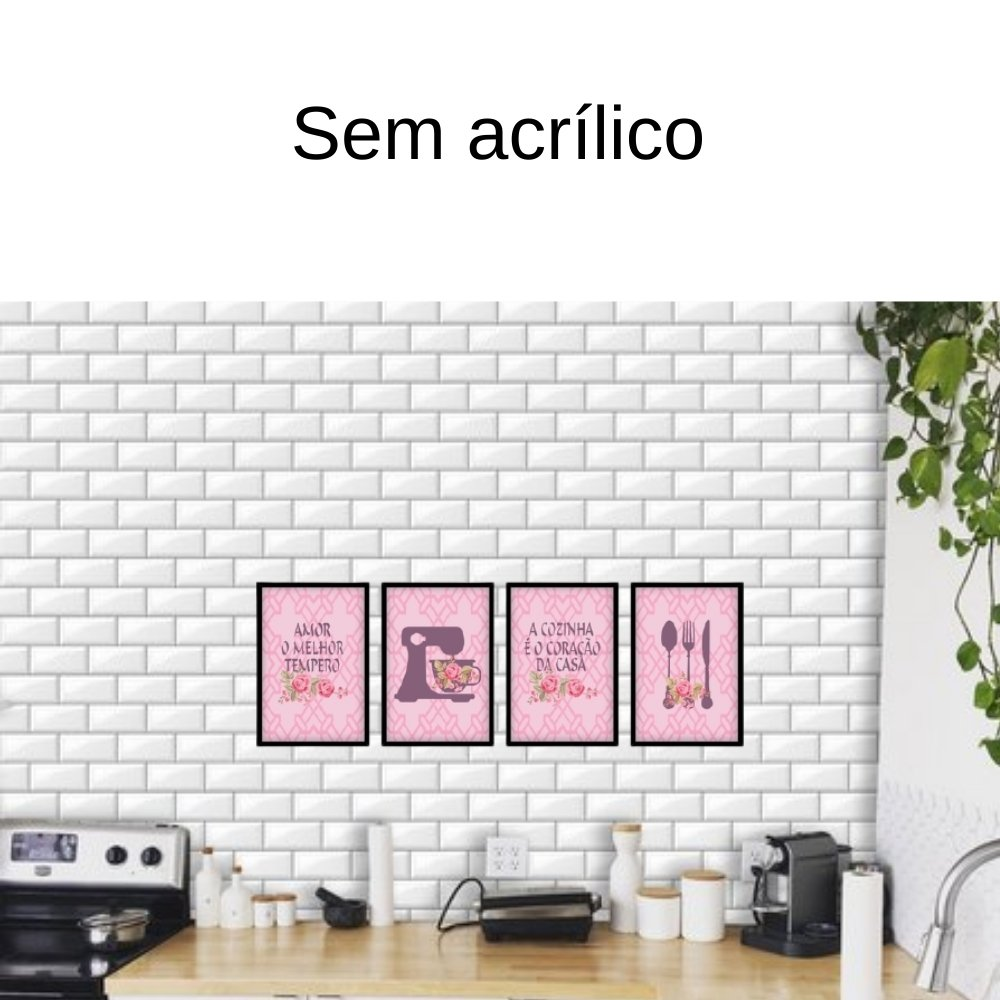 Quadro decorativo para decoração de cozinha e diversos ambientes preto sem acrílico 30x20