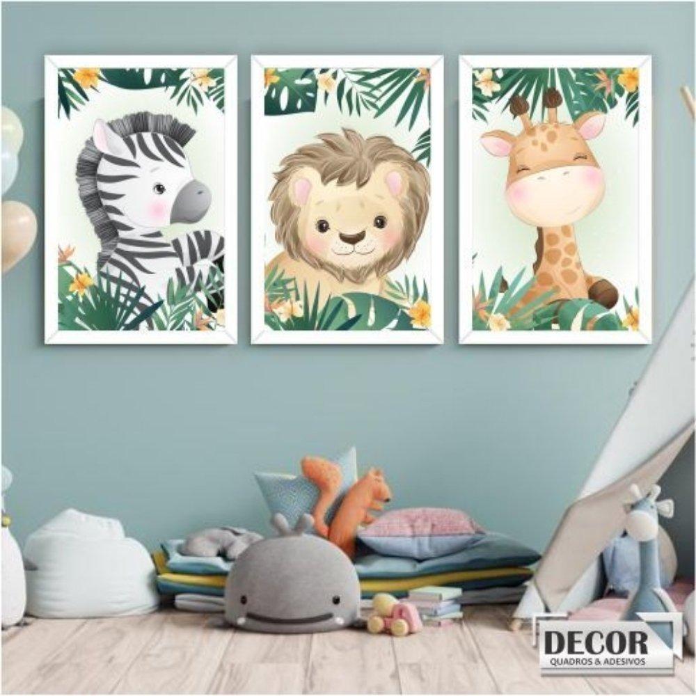 Quadro decorativo safari infantil com acrílico 30x20  branco