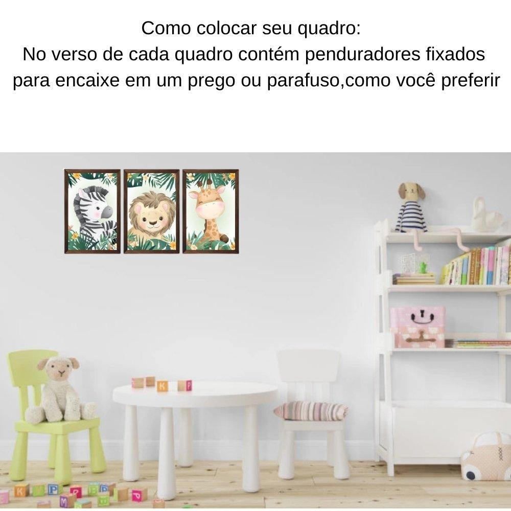 Quadro decorativo safari infantil com acrílico 30x20  marrom