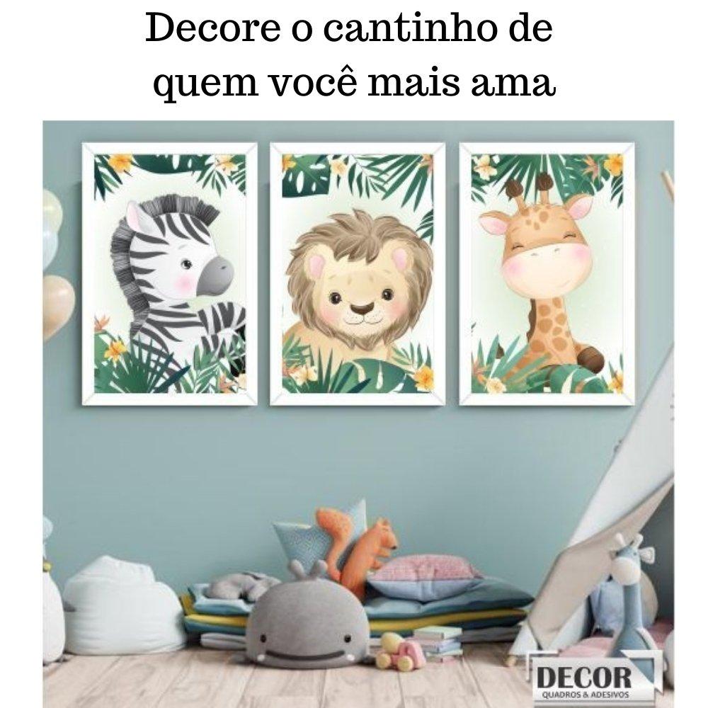 Quadro decorativo safari infantil com acrílico 40x30  branco