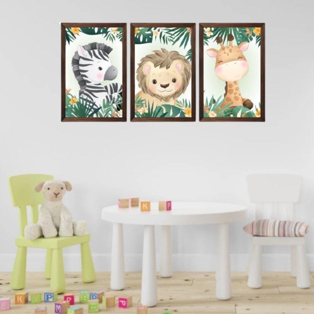 Quadro decorativo safari infantil com acrílico 40x30  marrom