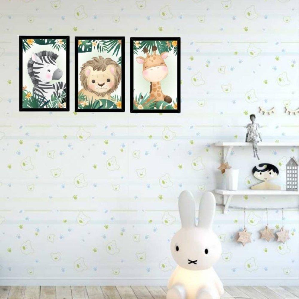 Quadro decorativo safari infantil com acrílico 40x30  preto
