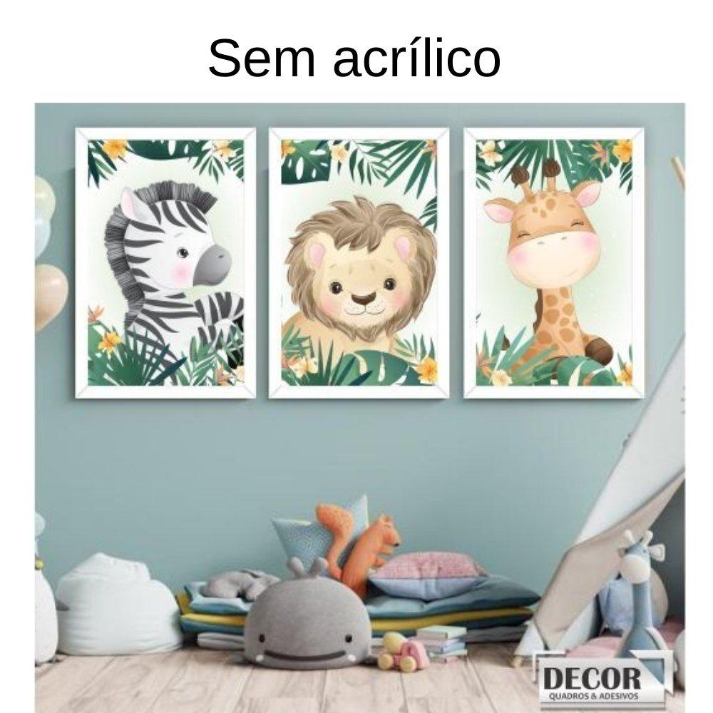 Quadro decorativo safari infantil sem acrílico 30x20  branco