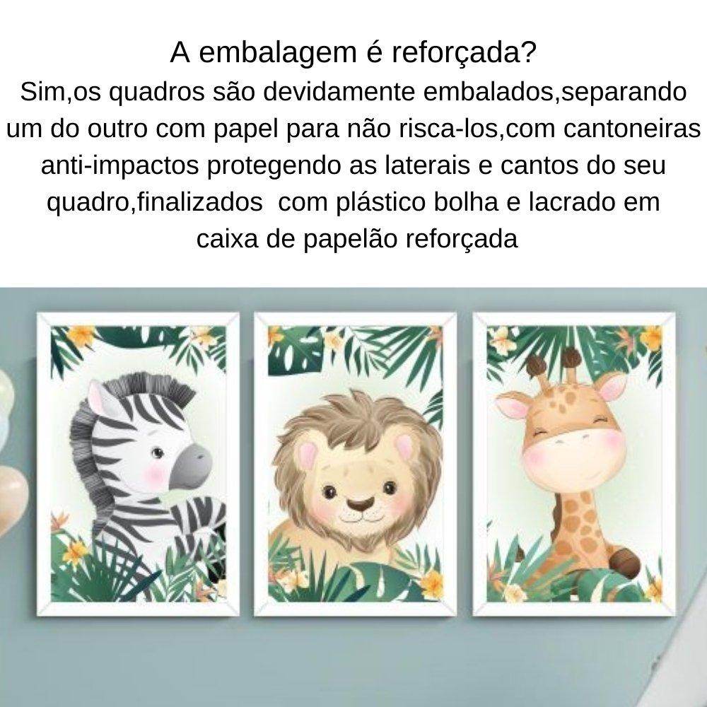 Quadro decorativo safari infantil sem acrílico 40x30  branco