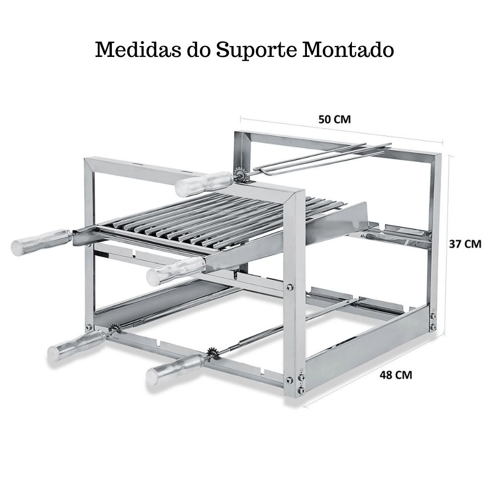 Suporte Fixo Churrasqueira 3 Espetos Alvenaria e Pré Moldada AGI-500