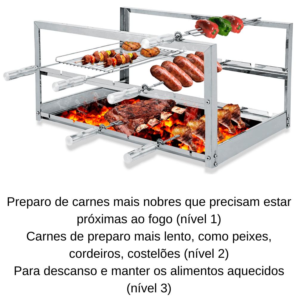 Suporte Fixo Churrasqueira 4 Espetos Alvenaria e Pré Moldada AGI-745