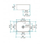 Cuba simples inox 304   55cm - Johnson Acero