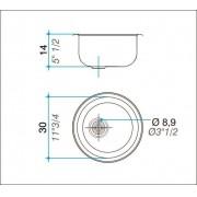 Cuba simples inox 304 redonda  30cm - Johnson Acero