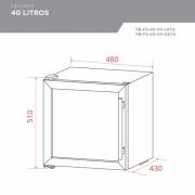 Frigobar Porta Inox 40 litros Controle Eletrônico Compressor - Elettromec