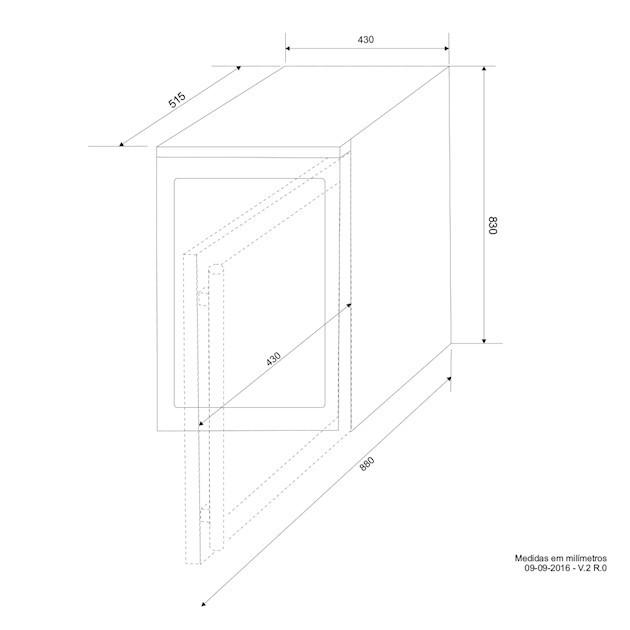 Adega Porta Inox 28 Garrafas Controle Eletrônico Compressor - Elettromec
