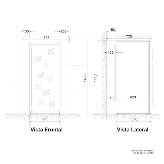 Adega Porta Inox Dual Zone 84 Garrafas Controle Eletrônico Compressor - Elettromec