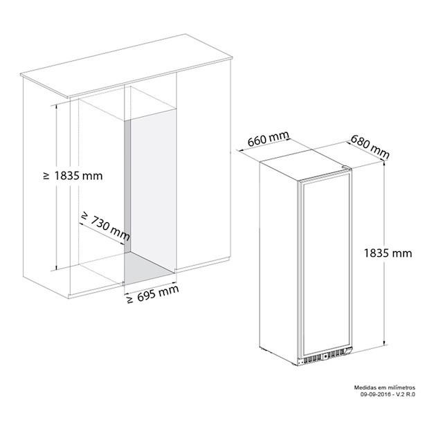 Adega Vetro Dual Zone Built-in 181 Garrafas Controle Eletrônico Compressor - Elettromec