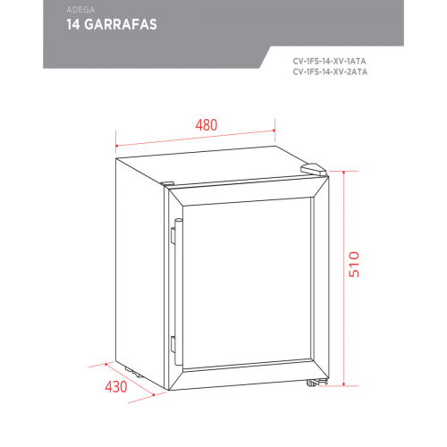 Adega Porta Inox 14 Garrafas Controle Eletrônico Compressor - Elettromec