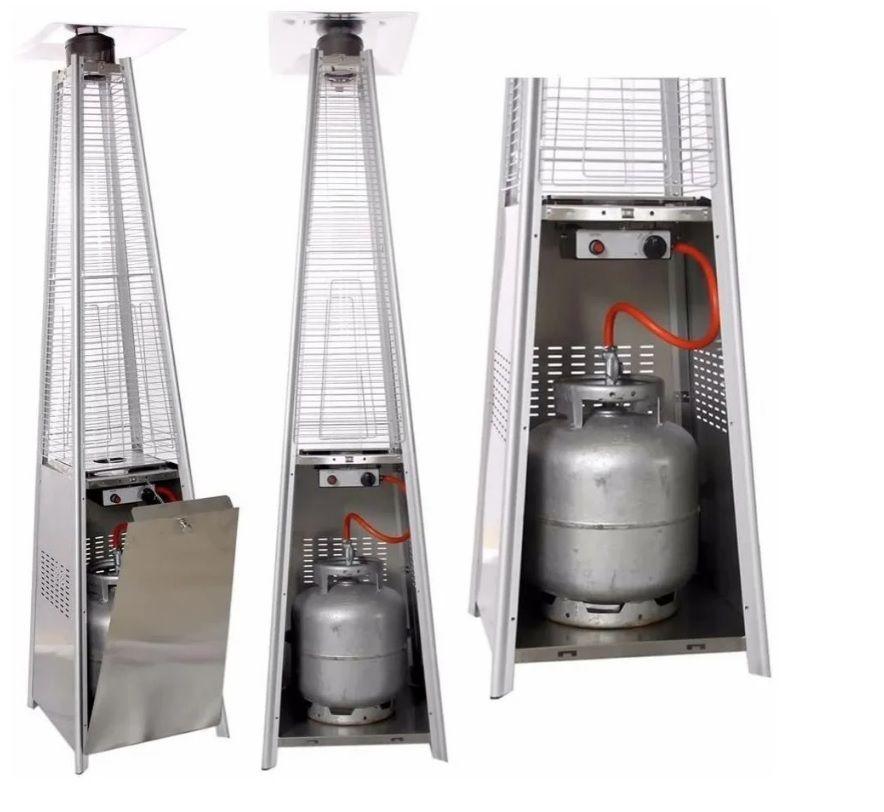 Aquecedor interno/externo Piramide com chama aparente a gás - Design Steel