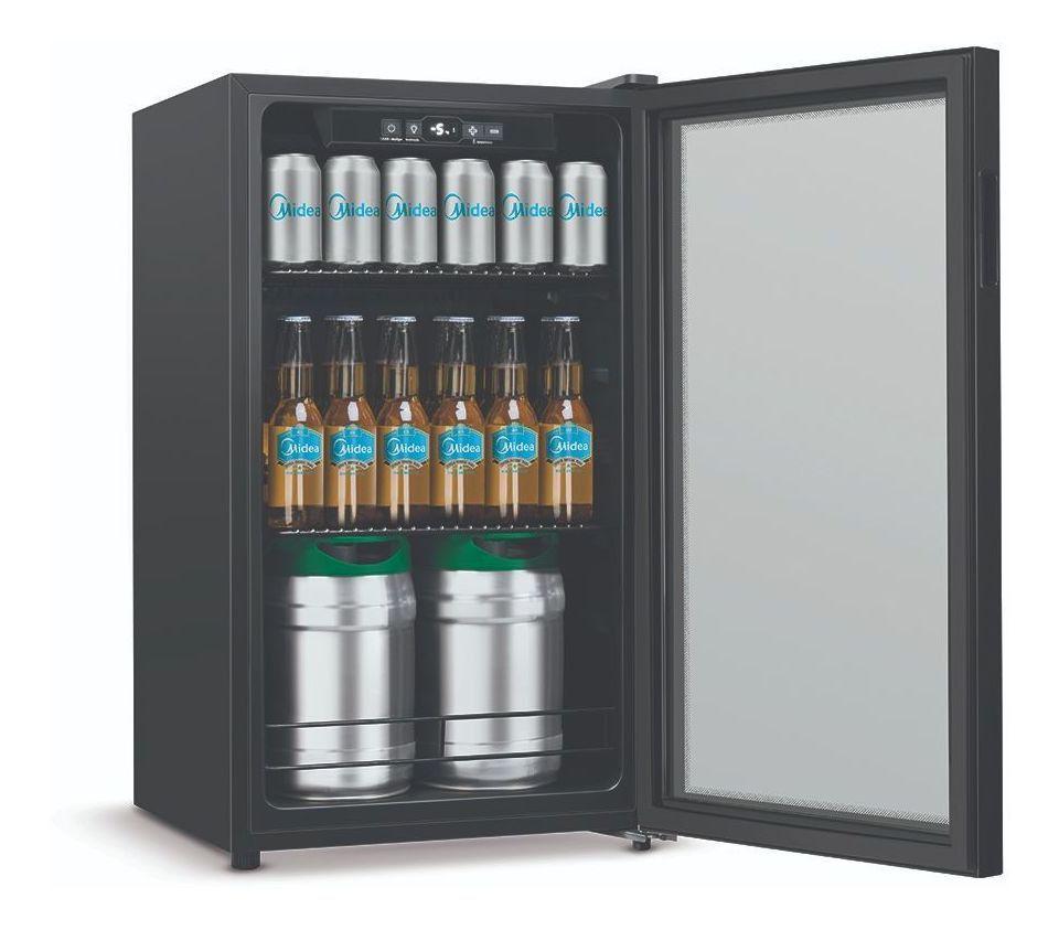 Cervejeira preta porta de vidro 96 litros - Midea