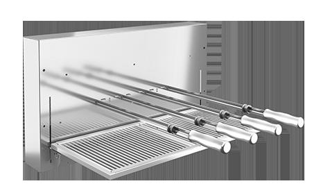 Churrasqueira Rotativa inox a Carvão com grelha linha Premium  - Design Steel