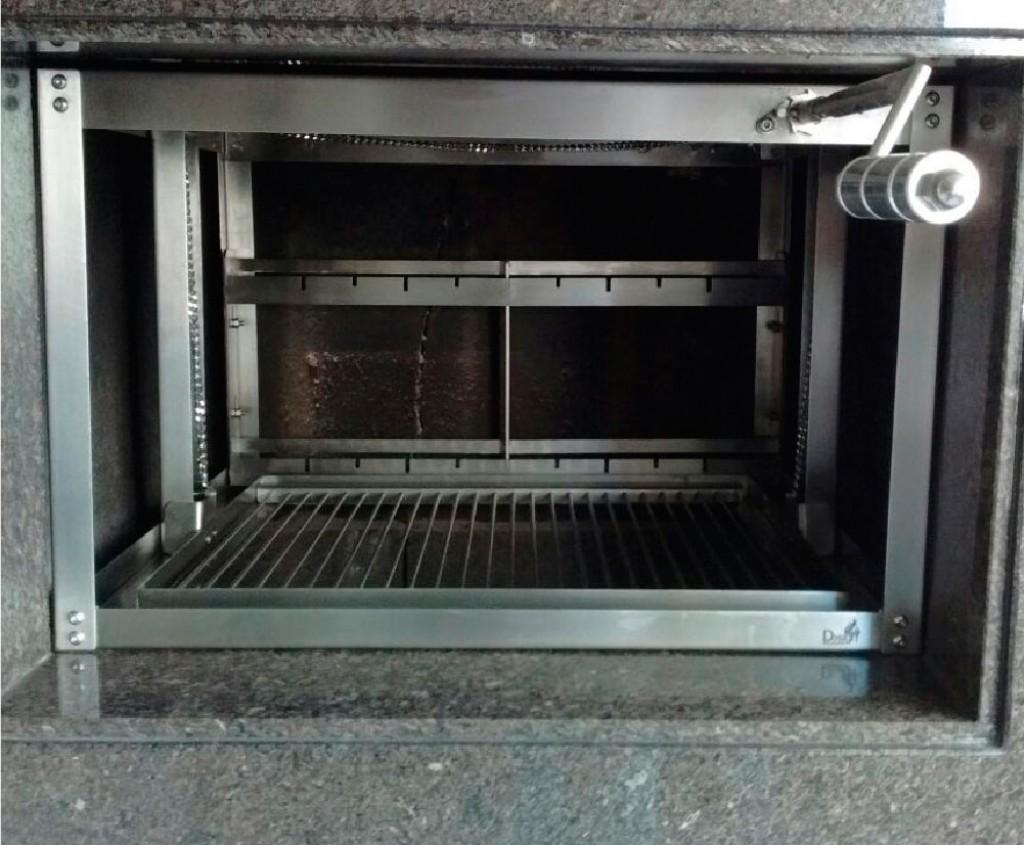 Churrasqueira Rotativa inox a Carvão com grelha manual Linha Gourmet  - Design Steel