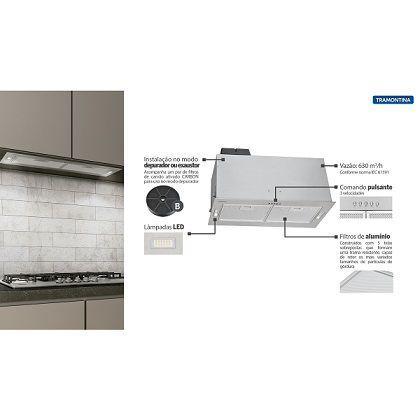 Coifa de Embutir Retangular em Aço Inox 75 cm - Tramontina