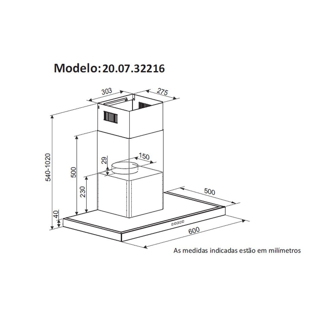 Coifa de Parede inox Barcelona 60cm - DeBacco