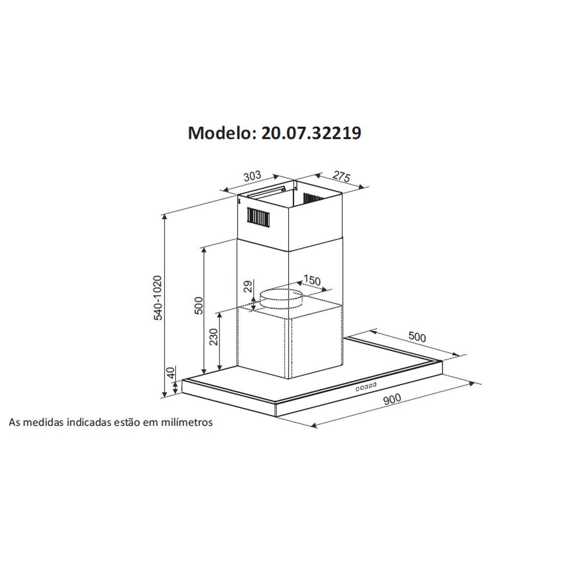 Coifa de Parede inox Barcelona 90cm - DeBacco