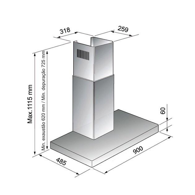 Coifa Parede Elettromec Adria Inox 90cm - 220v
